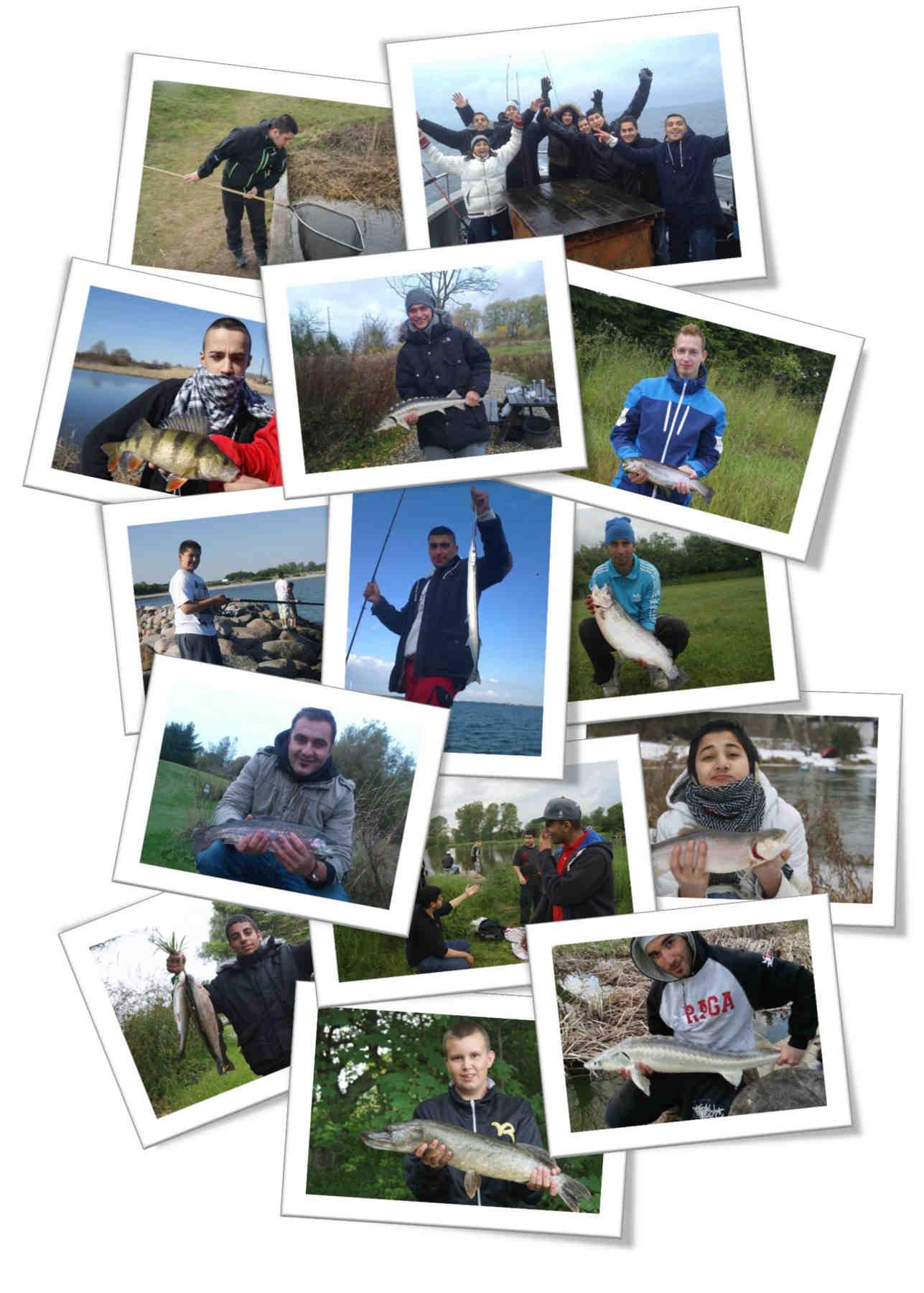 En collage af medlemmerne af A-Catch fra deres mange fisketure.